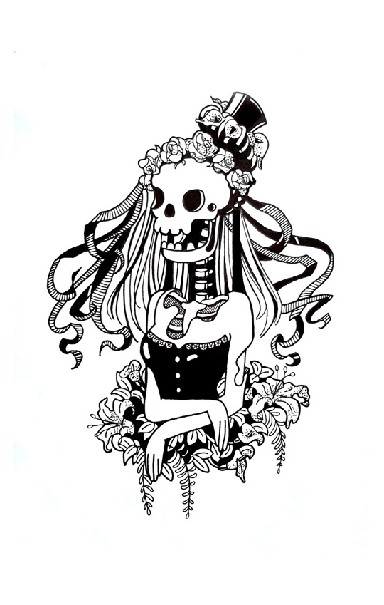 skull lady ink drawing